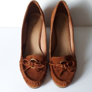 Aldo Brown Leather Suede Wedge Shoe Size 9